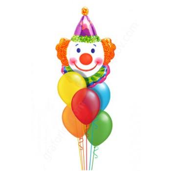 Детский букет из воздушных шаров с клоуном