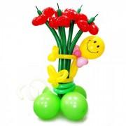 Фигуры из воздушных шаров Букет-колонна со смайлом от фирмы Шар-MSK