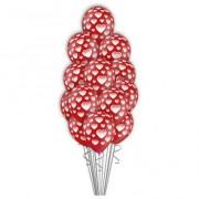 Букет  шаров  Красные с сердечками 50 шт