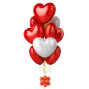 Купить свадебный букет из воздушных шариков с красными и белыми сердцеми