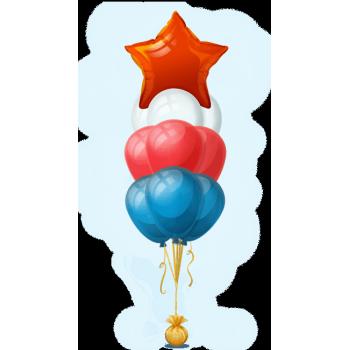 Букет воздушных шаров Звездный триколор 30 + 1 шт