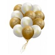 Купить букет из белых и золотых воздушных шаров с гелием