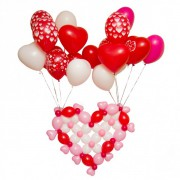 """Букет воздушных шаров сердечек с гелием """"Летающее сердце + 20 шаров"""""""