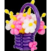 Корзина с цветами Ромашки из воздушных шаров 9 шт. от компании Шар-MSK