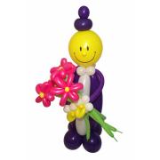 Фигуры из воздушных шаров Господин с букетом от компании Шар-MSK